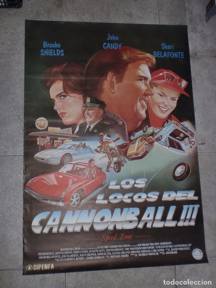 CARTEL ORIGINAL DE CINE. LOS LOCOS DEL CANNONBALL III. 95 X 67 CM (Cine - Posters y Carteles - Comedia)