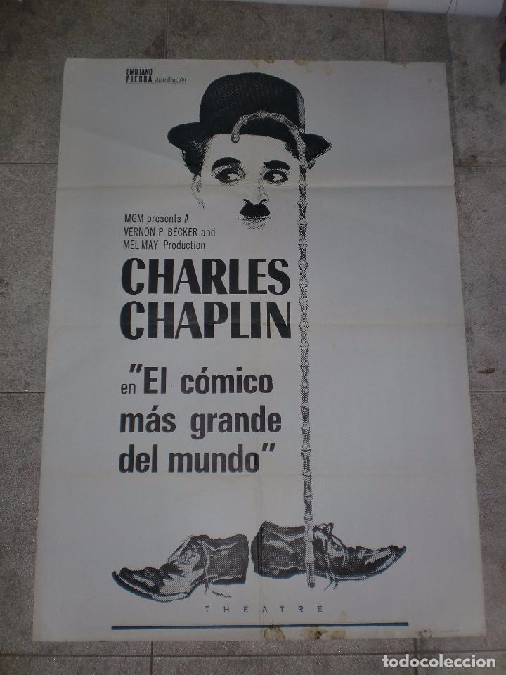 CARTEL DE CINE ORIGINAL. CHARLES CHAPLIN, EL COMICO MAS GRANDE DEL MUNDO. 100 X 70 CM. (Cine - Posters y Carteles - Comedia)