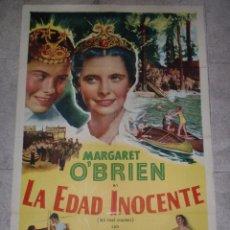 Cine: CARTEL DE CINE ORIGINAL. LA EDAD INOCENTE. MARGARET O´BRIEN. 99 X 70 CM.. Lote 76461331