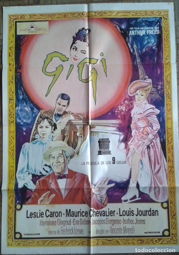 GIGI. POSTER 70X100. LESLIE CARON, LOUIS JOURDAN, MAURICE CHEVALIER (Cine - Posters y Carteles - Musicales)