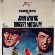 Cine: EL DORADO. JOHN WAYNE-ROBERT MITCHUM-HOWARD HAWKS. CARTEL ORIGINAL 1976. 70X100. Lote 76695515