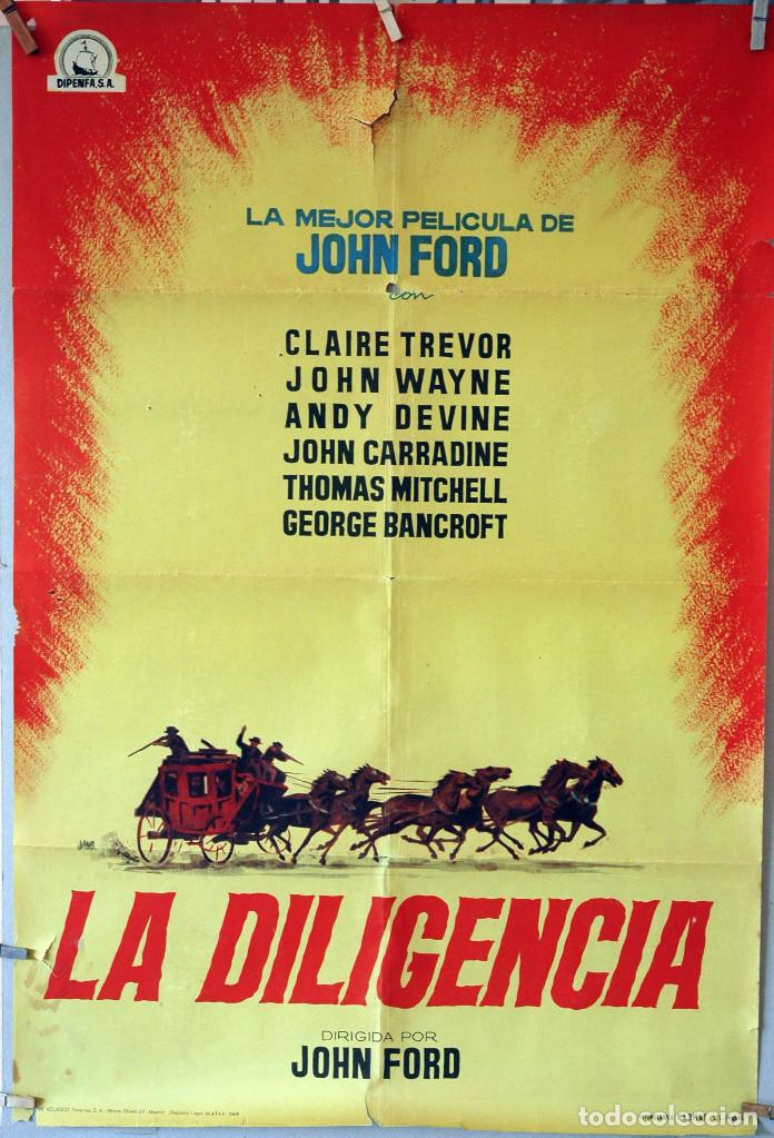 LA DILIGENCIA. JOHN FORD-JOHN WAYNE. CARTEL ORIGINAL 1963. 70X100 (Cine - Posters y Carteles - Westerns)
