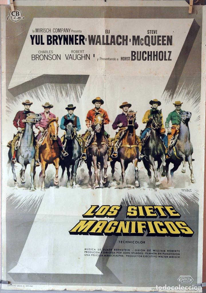 LOS SIETE MAGNÍFICOS. YUL BRYNNER-STEVE MACQUEEN. CARTEL ORIGINAL 1961. 70X100 (Cine - Posters y Carteles - Westerns)
