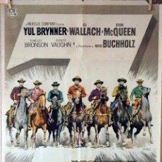 Cine: LOS SIETE MAGNÍFICOS. YUL BRYNNER-STEVE MACQUEEN. CARTEL ORIGINAL 1961. 70X100. Lote 76696963
