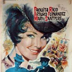 Cine: LA VIUDITA NAVIERA. PAQUITA RICO-ARTURO FERNÁNDEZ. CARTEL ORIGINAL 1962. 70X100. Lote 76697899