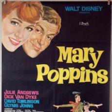 Cine: MARY POPPINS. WALT DISNEY-JULIE ANDREWS. CARTEL ORIGINAL. 70X100. Lote 76698159