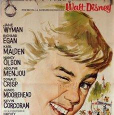 Cine: POLYANA. WALT DISNEY-JANE WYMAN-KARL MALDEN. CARTEL ORIGINAL 1961. 70X100. Lote 76701835