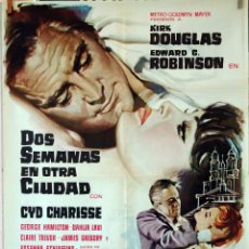 Cine: DOS SEMANAS EN OTRA CIUDAD. KIRK DOUGLAS-EDWARD G. ROBINSON. CARTEL ORIGINAÑ 1963. 70X100. Lote 77086985