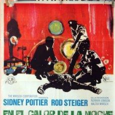 Cine: EN EL CALOR DE LA NOCHE. SIDNEY POITIER-ROD STEIGER. CARTEL ORIGINAL 70X100. Lote 77088829