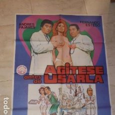 Cine: POSTER PELICULA AGITESE ANTES DE USARLA - CARTEL TAMAÑO APROXIMADO 95X65 CM.. Lote 77227725