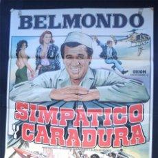 Cine: BELMONDO - SIMPATICO CARADURA - CARTEL ORIGINAL DE CINE ( 100 X 70 ) AÑO 1984. Lote 77518841