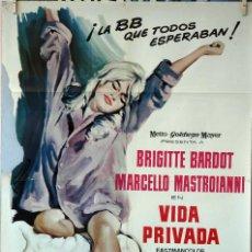 Cine: VIDA PRIVADA. BRIGITTE BARDOT-MARCELLO MASTROIANNI. CARTEL ORIGINAL 1962. 70X100. Lote 77538789
