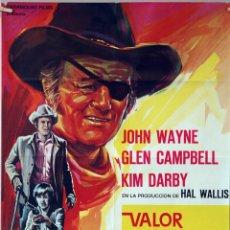Cine: VALOR DE LEY. JOHN WAYNE. CARTEL ORIGINAL 1969. 70X100. Lote 77540181