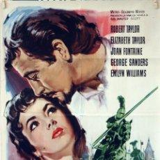 Cine: IVANHOE. ELIZABETH TAYLOR-ROBERT TAYLOR. CARTEL ORIGINAL 1965. 70X100. Lote 77546041