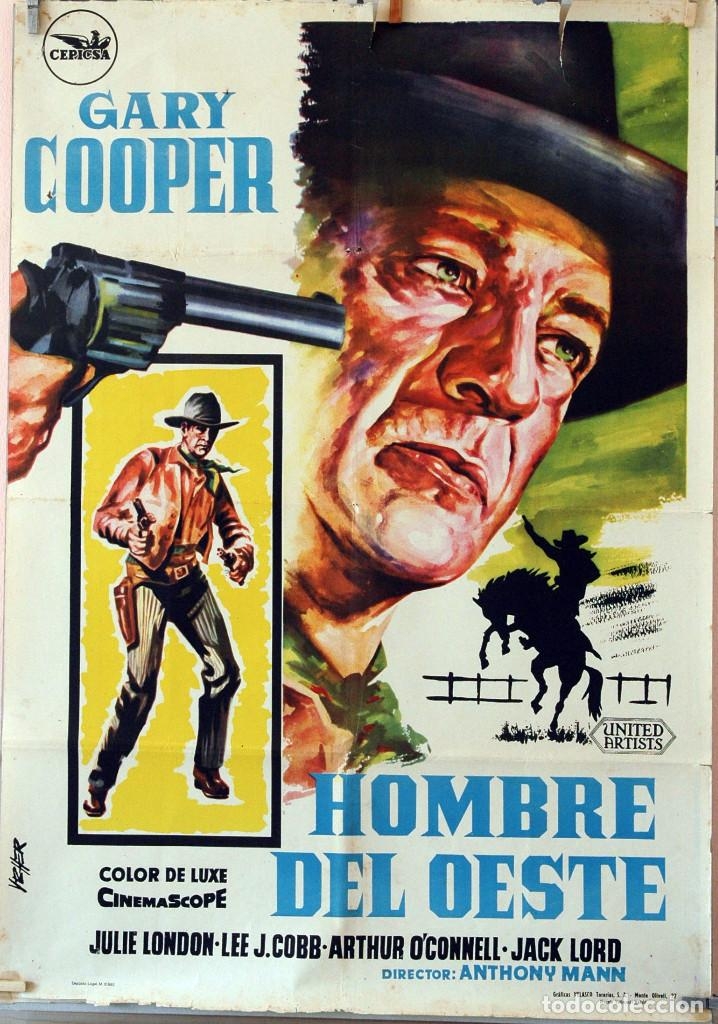 HOMBRE DEL OESTE. GARY COOPER-ANTHONY MANN. CARTEL ORIGINAL 70X100 (Cine - Posters y Carteles - Westerns)