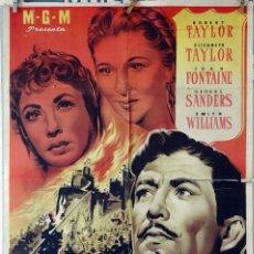 Cine: IVANHOE. ELIZABETH TAYLOR-ROBERT TAYLOR. CARTEL ORIGINAL 1952. 70X100. Lote 77897381
