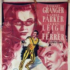 Cine: SCARAMOUCHE. STEWRT GRANGER-ELEANOR PARKER-JANET LEIGH. CARTEL ORIGINAL 1952. 70X100. Lote 77898197