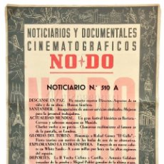 Cine: CARTEL DEL NOTICIARIO DOCUMENTAL NODO Nº 510 A (VER LOS ACONTECIMIENTOS) ORIGINAL. Lote 78628037