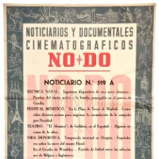 Cine: CARTEL DEL NOTICIARIO DOCUMENTAL NODO Nº 519 A (VER LOS ACONTECIMIENTOS) ORIGINAL. Lote 78629677