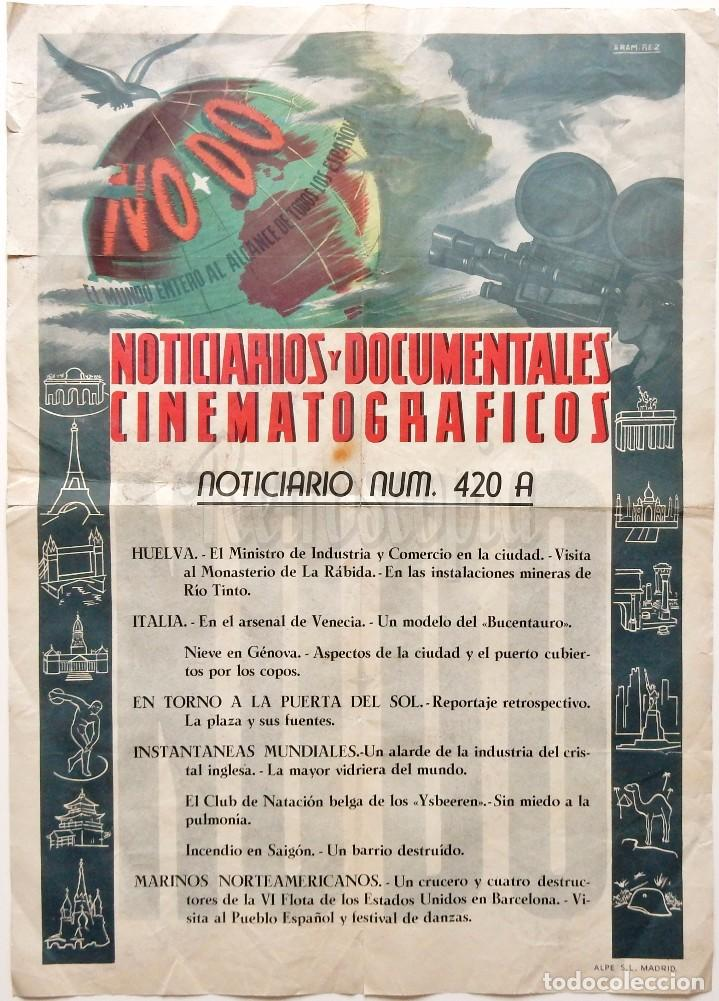 CARTEL DEL NOTICIARIO DOCUMENTAL NODO Nº 420 A (VER LOS ACONTECIMIENTOS) ORIGINAL (Cine - Posters y Carteles - Documentales)