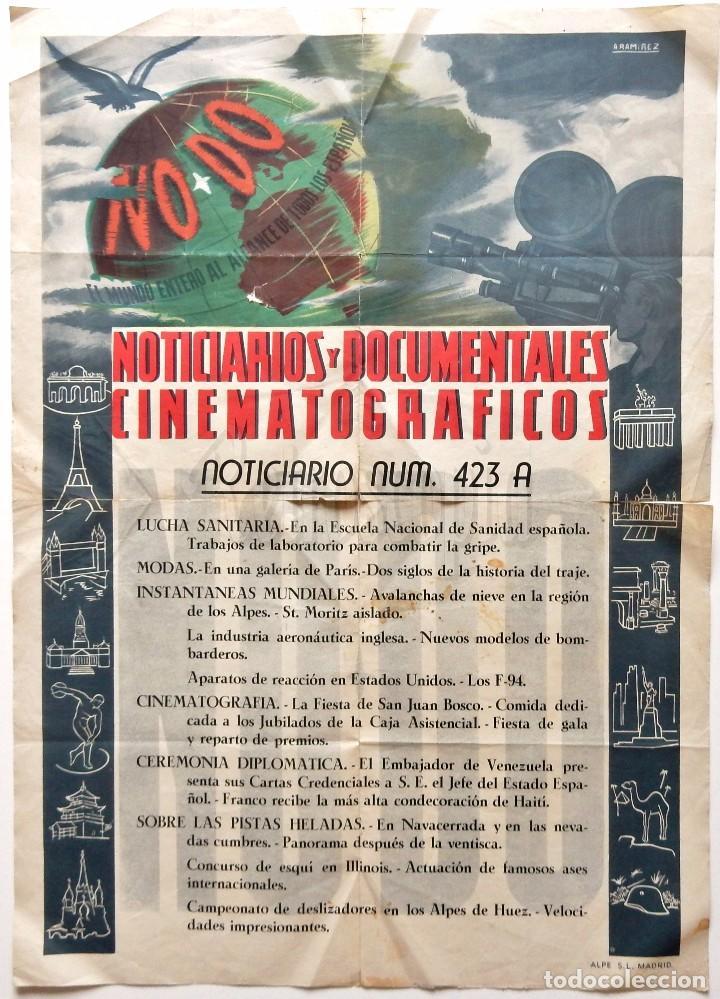 CARTEL DEL NOTICIARIO DOCUMENTAL NODO Nº 423 A (VER LOS ACONTECIMIENTOS) ORIGINAL (Cine - Posters y Carteles - Documentales)