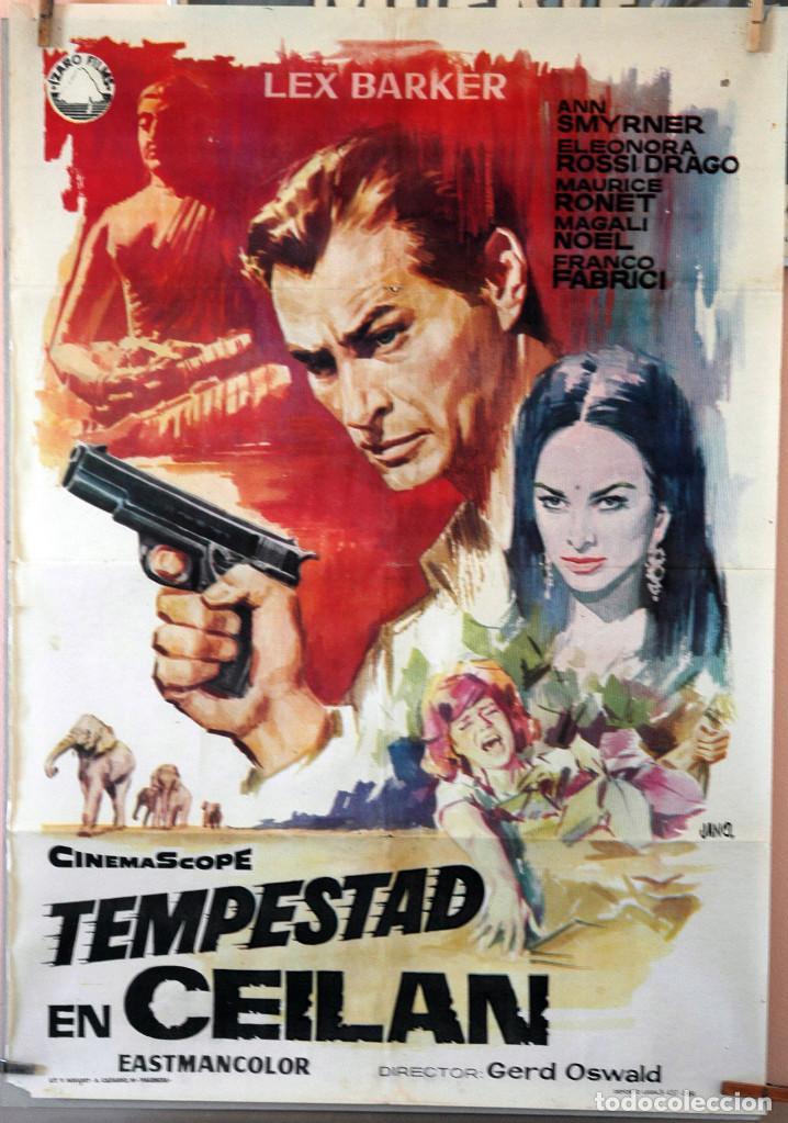 TEMPESTAD EN CEILÁN. LEX BARKER. CARTEL ORIGINAL 1964. 70X100 (Cine - Posters y Carteles - Aventura)