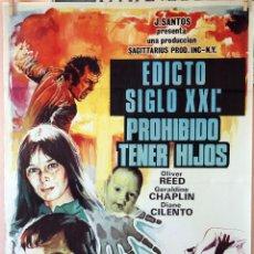 Cine: EDICTO SIGLO XXI: PROHIBÍDO TENER HIJOS. GERALDINE CHAPLIN-OLIVER REED. CARTEL ORIGINAL 1973 70X100. Lote 79610013