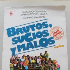 Cine: CARTEL MEDIANO BRUTOS, SUCIOS Y MALOS DE CARLO PONTI, 1976, PREMIO CANNES A LA DIRECCION. Lote 79933949