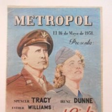 Cine: CARTEL DOS EN EL CIELO, SPENCER TRACY, IRENE DUNNE Y ESTHER WILLIAMS, CINE METROPOL, TAMAÑO A3, 1951. Lote 80002157