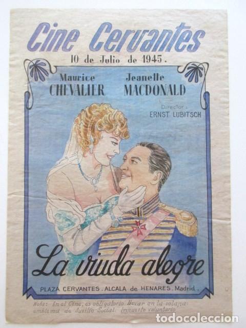 CARTEL CINE LA VIUDA ALEGRE, CINE CERVANTES, ALCALÁ DE HENARES, MADRID, AÑO 1945, TAMAÑO A3 (Cine - Posters y Carteles - Bélicas)