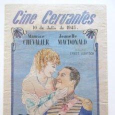 Cine: CARTEL CINE LA VIUDA ALEGRE, CINE CERVANTES, ALCALÁ DE HENARES, MADRID, AÑO 1945, TAMAÑO A3. Lote 80002929