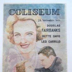 Cine: CARTEL LOS GANGSTERS DEL AIRE, BETTE DAVIS, DOUGLAS FAIRBANKS, CINE COLISEUM, AÑO 1933, TAMAÑO A3. Lote 80004273