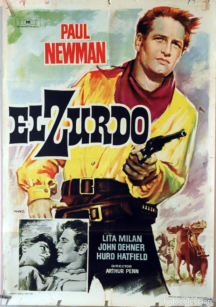 EL ZURDO. PAUL NEWMAN-ARTHUR PENN. CARTEL ORIGINAL 1961. 70X100 (Cine - Posters y Carteles - Westerns)