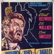 Cine: EL BUENO, EL FEO Y EL MALO. CLINT EASTWOOD-SERGIO LEONE. CARTEL ORIGINAL 1968. 70X100. Lote 80230633