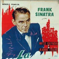 Cine: LA MÁSCARA DEL DOLOR. FRANK SINATRA-CHARLES VIDOR. CARTEL ORIGINAL 1962. 70X100. Lote 80274253
