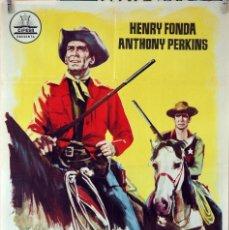 Cine: CAZADOR DE FORAJIDOS. HENRY FONDA ANTHONY PERKINS. CARTEL ORIGINAL 1961. 70X100. Lote 80277061