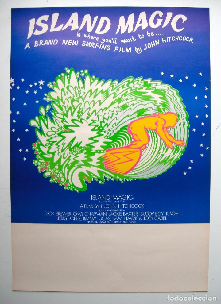 POSTER ORIGINAL AUSTRALIA / SURF / ISLAND MAGIC / JOHN HITCHCOCK / 1972 / 44X64 CM (Cine - Posters y Carteles - Documentales)