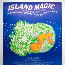 Cine: CARTEL ORIGINAL AUSTRALIA / 1972 / SURF / ISLAND MAGIC / JOHN HITCHCOCK / 44X64 CM. Lote 80641430