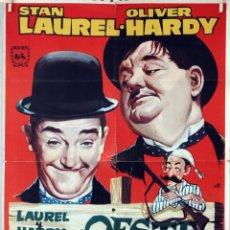 Cine: LAUREL Y HARDY EN EL OESTE. CARTEL ORIGINAL 1960. 70X100. Lote 80951356
