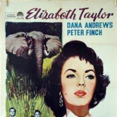 Cine: LA SENDA DE LOS ELEFANTES. ELIZABETH TAYLOR. CARTEL ORIGINAL 1964. 70X100. Lote 80955176