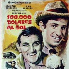 Cine: 100.000 DÓLARES AL SOL. JEAN PAUL BELMONDO-LINO VENTURA. CARTEL ORIGINAL 1964. 70X100. Lote 81018868