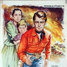 Cine: EL REBELDE ORGULLOSO. ALAN LADD-OLIVIA DE HAVILLAND. CARTEL ORIGINAL 1961. 65X95. Lote 81115276