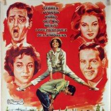 Cine: EL CERRO DE LOS LOCOS. ANTONIO OZORES-MERCEDES ALONSO. CARTEL ORIGINAL 1959. 70X100. Lote 81123704