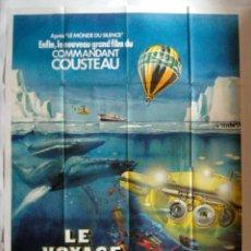 Cine: POSTER ORIGINAL FRANCIA / 1976 /JACQUES COUSTEAU / LE VOYAGE AU BOUT DU MONDE / 120X160 CM. Lote 103159499