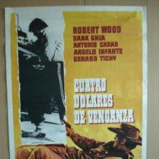 Cine: CARTEL, POSTER CINE -ORIGINAL - CUATRO DOLARES DE VENGANZA- WESTERN - AÑO 1975... R- 5297. Lote 81871980