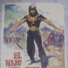 Cine: CARTEL DE CINE ORIGINAL. EL HIJO DE CAID. 1963. 99X70 CM. Lote 82265276