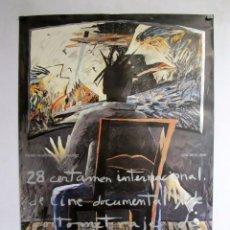 Cine: 28 CERTAMEN INTERNACIONAL DE CINE DOCUMENTAL Y CORTOMETRAJE DE BILBAO (1986) CARTEL ORIGINAL 69X99. Lote 82613912