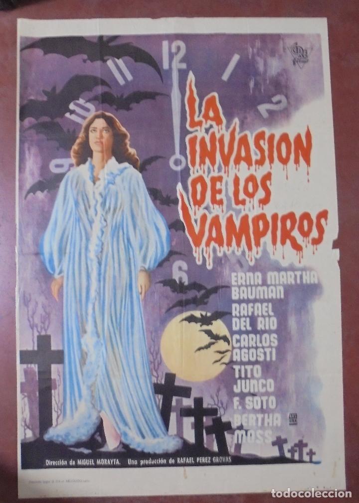 CARTEL DE CINE ORIGINAL. LA INVASIÓN DE LOS VAMPIROS. 97X65 CM (Cine - Posters y Carteles - Terror)