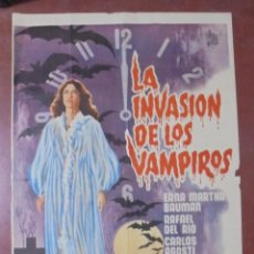 Cine: CARTEL DE CINE ORIGINAL. LA INVASIÓN DE LOS VAMPIROS. 97X65 CM. Lote 82692356
