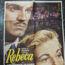 Cinema: REBECA - POSTER CARTEL ORIGINAL ALFRED HITCHCOCK LAURENCE OLIVIER JOAN FONTAINE GEORGE SANDERS MAC. Lote 135431922